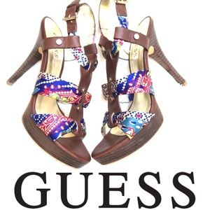 GUESS Colorful Strappy Heels/Sandals Size 7 NWOT